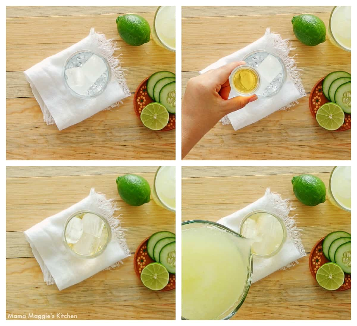 A collage showing how to make the spiked agua fresca cocktail.