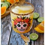 Skinny Orange Margarita served in a decorative Dia de los Muertos glass.
