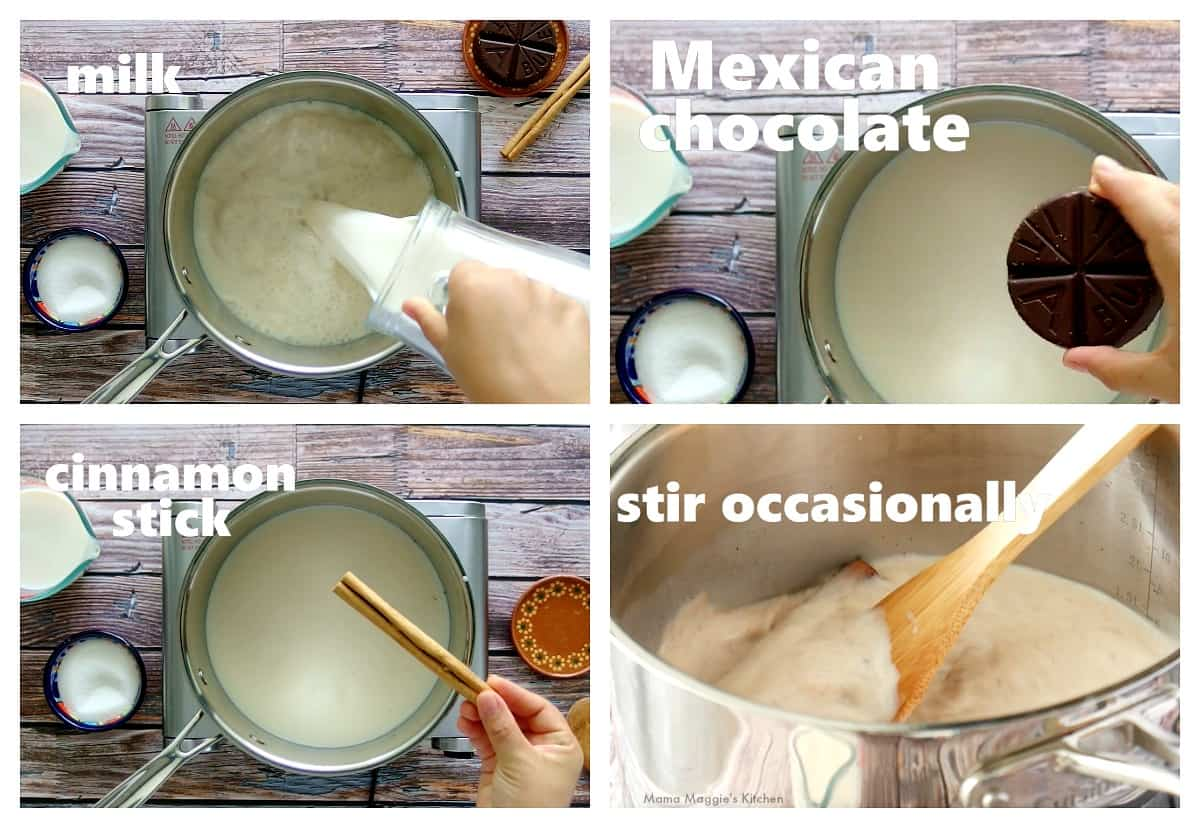 A collage showing how to boil the milk and chocolate in a stock pot.