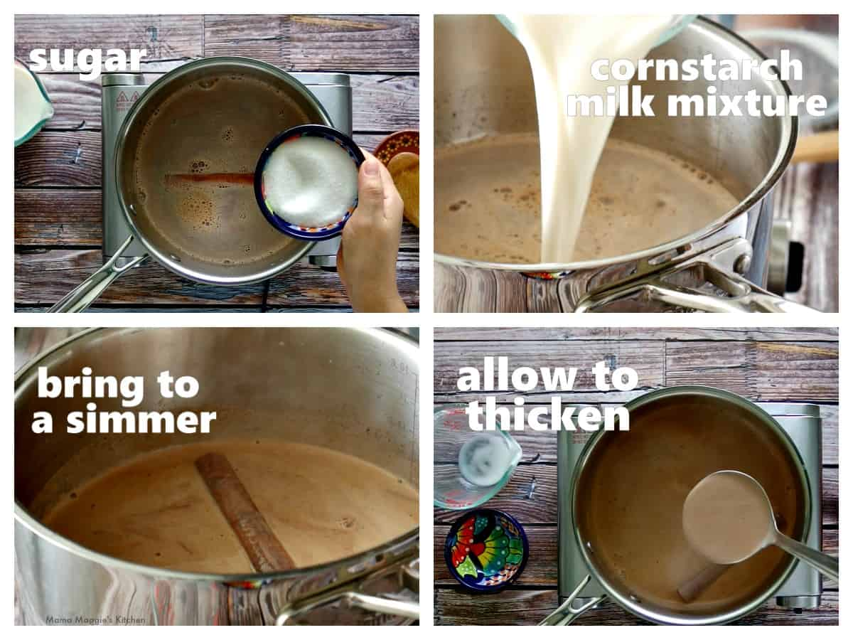 A collage showing a stock pot of milk and adding the corn starch mixture.