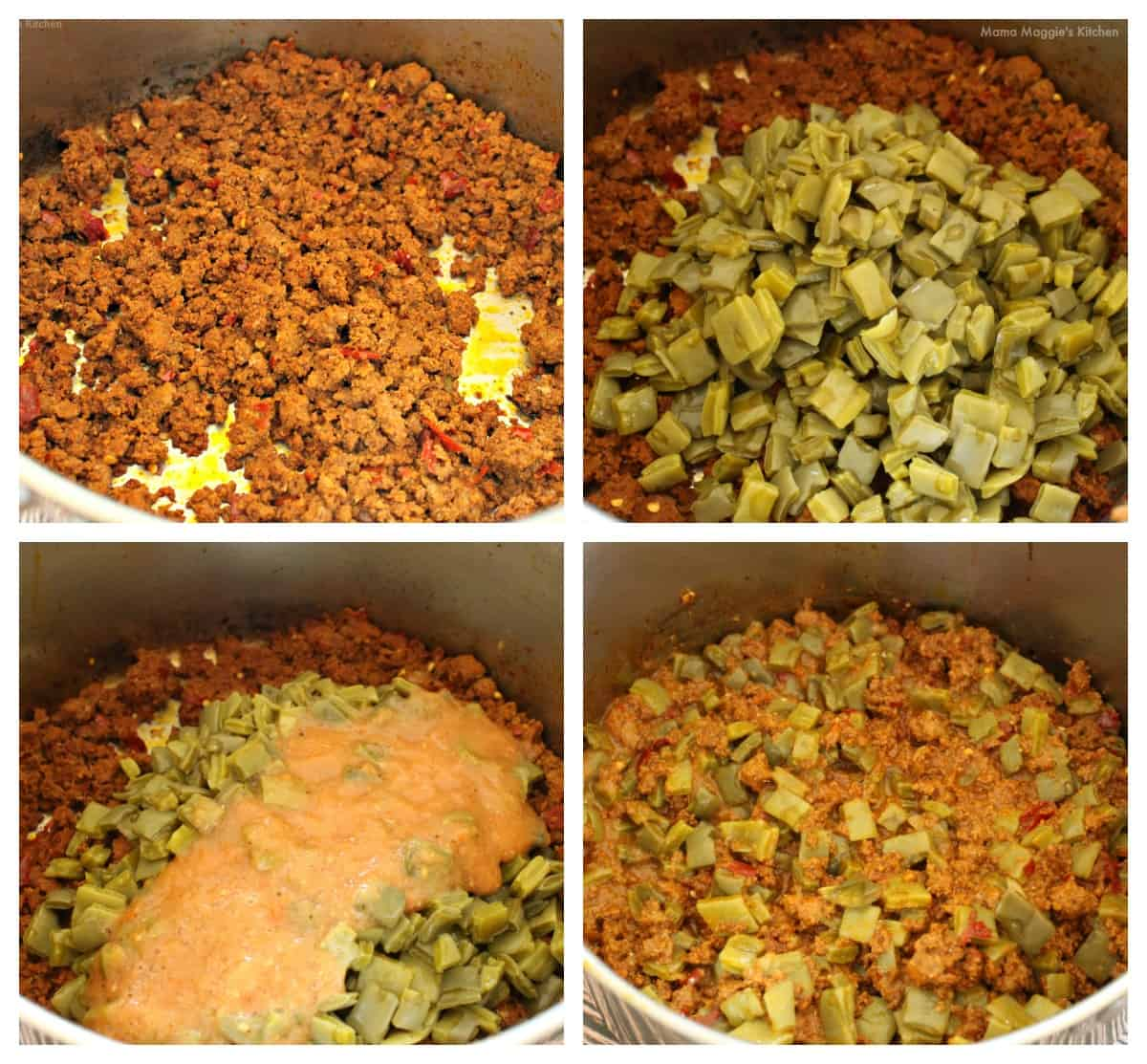 A collage showing how to make Nopales con Chorizo in a stock pot.