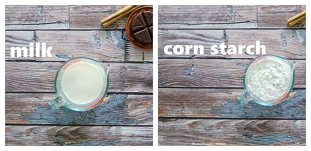 A collage of milk and corn starch mixing in a measuring cup.