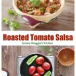 Roasted tomato salsa served in a decorative clay bowl and how it is being cooked.