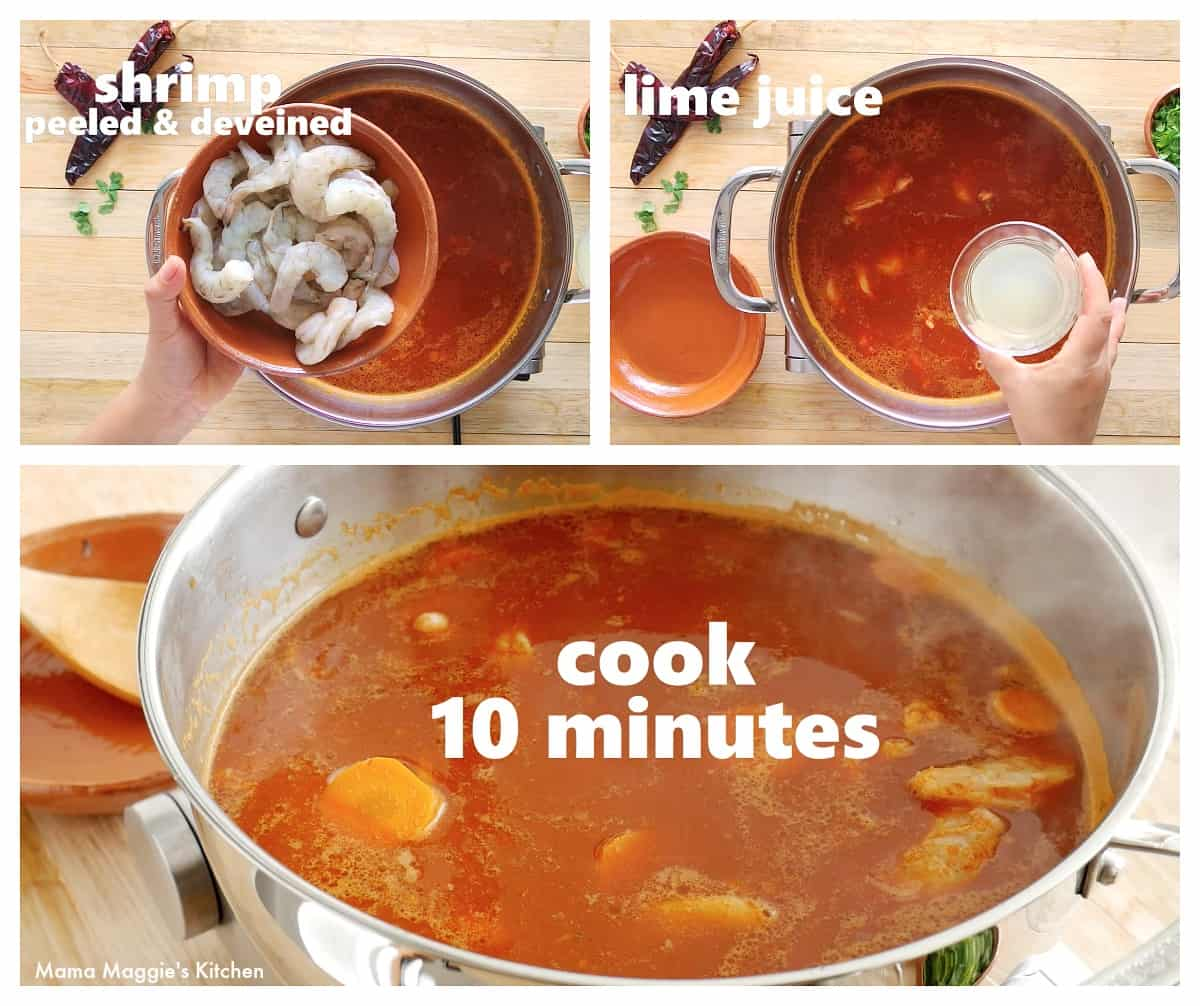 A collage showing when the shrimp and lime juice are added to a pot.