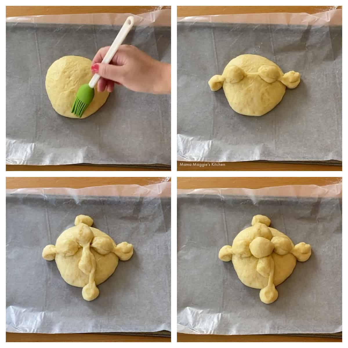 A collage showing how to add the dough bones and heads to the pan de muerto.