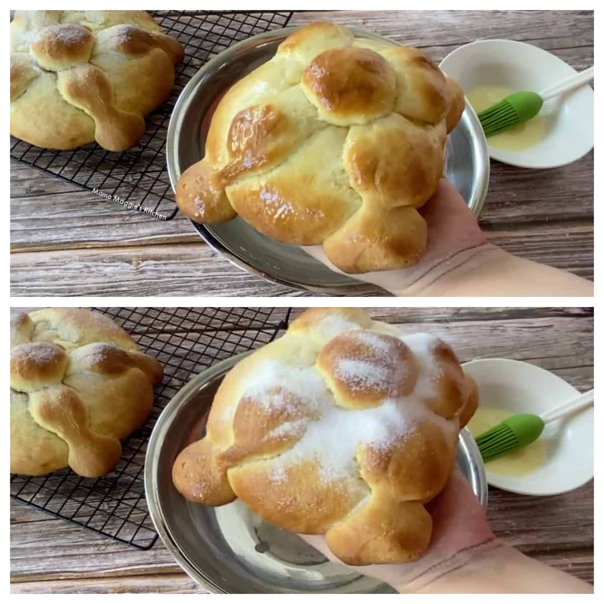 A collage showing how to add the butter to the pan de muerto.
