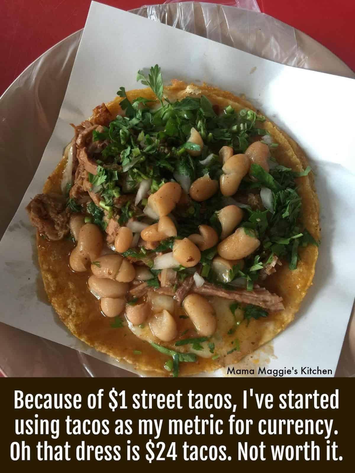 A bean taco topped with cilantro.