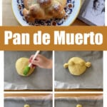 A collage showing how to make pan de muerto