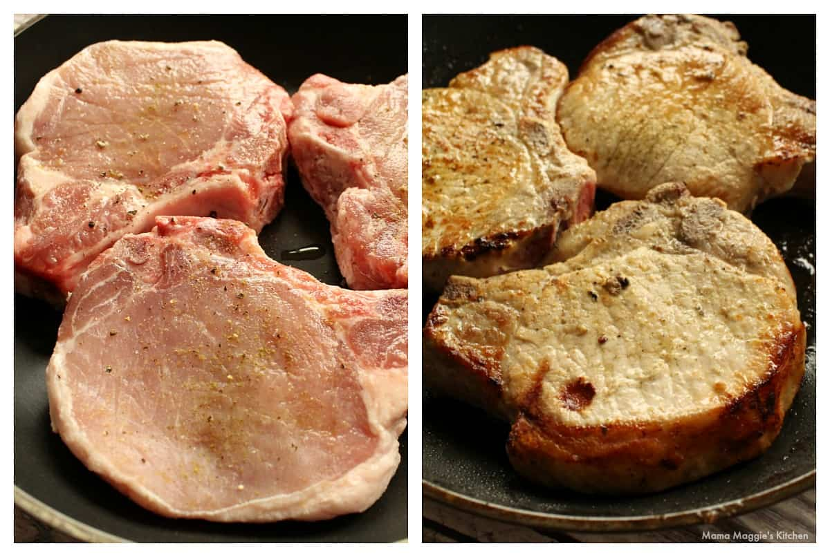 A collage showing how to sear pork chops in a skillet.