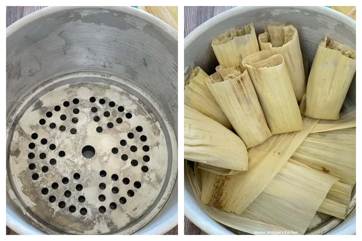 A collage showing how to arrange the tamales inside a steamer pot.
