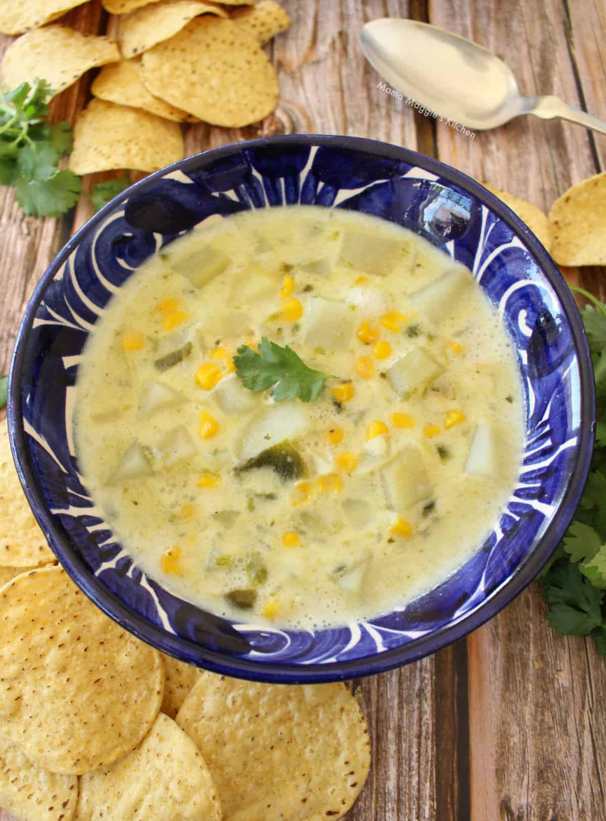 A blue plate with Caldo de Queso surrounded by chips.