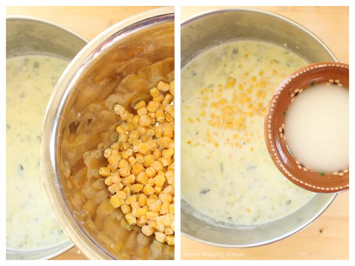 A collage showing the addition of corn kernels and cornstarch into a stock pot.