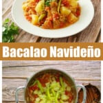 A collage of two pictures of Bacalao Navideño.