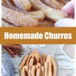 A collage showing Homemade Mexican Churros in a bowl and holding by hand.