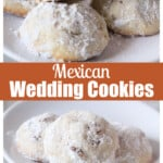 Mexican wedding cookies served on a white plate.