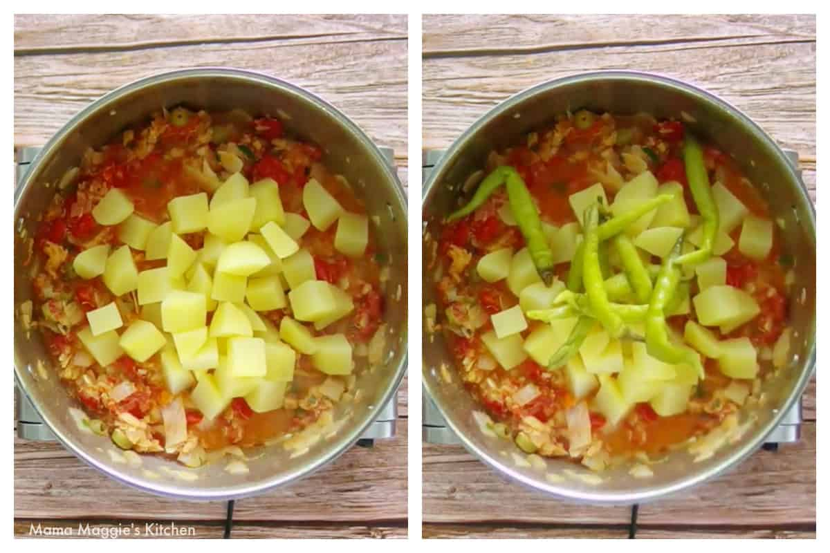 Two pictures side by side of potatoes and chiles gueros cooking in a stock pot.
