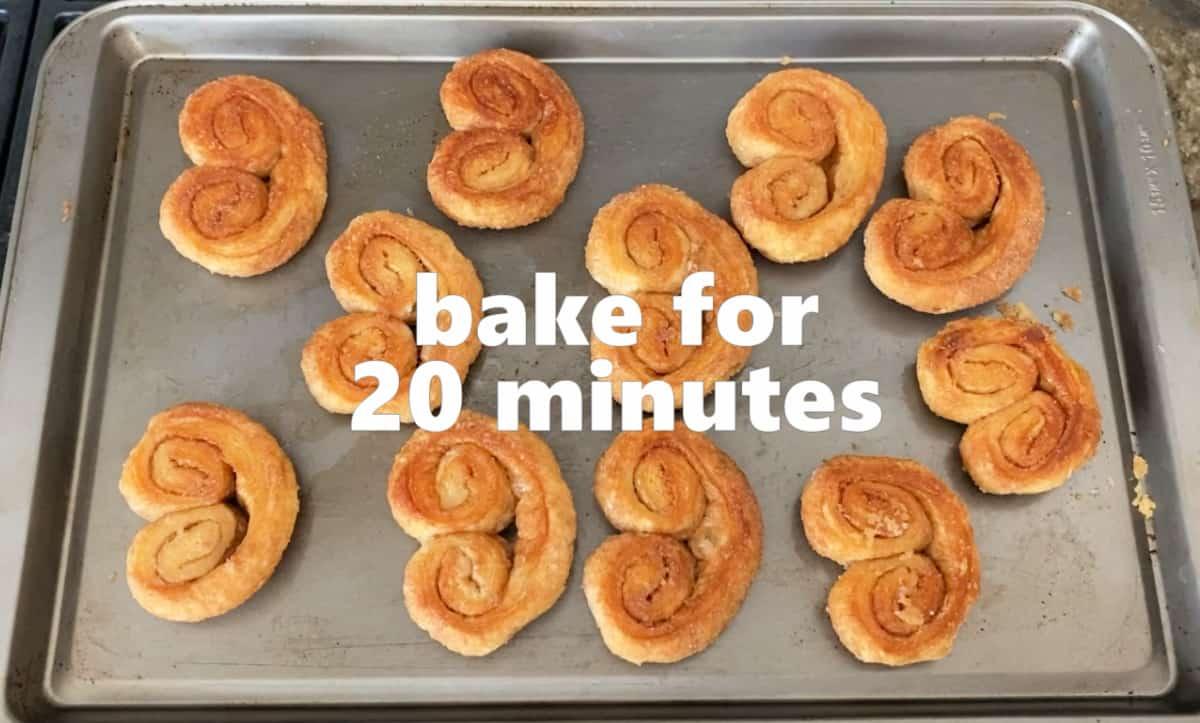 Baked orejas on a sheet pan.