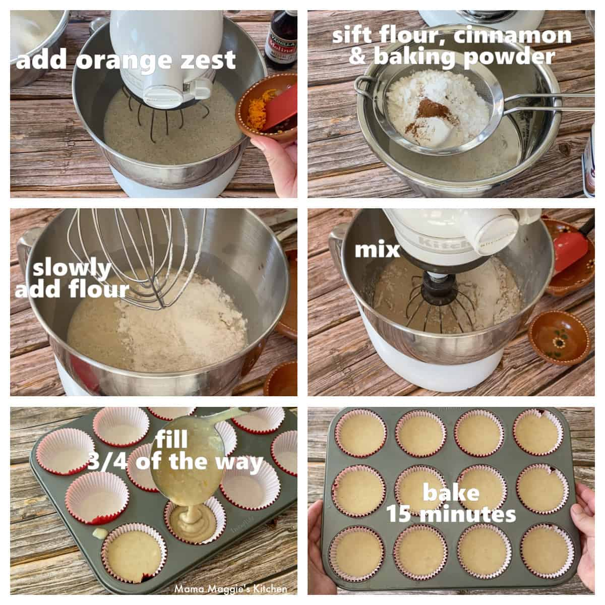 A collage showing how to fill a cupcake pan.