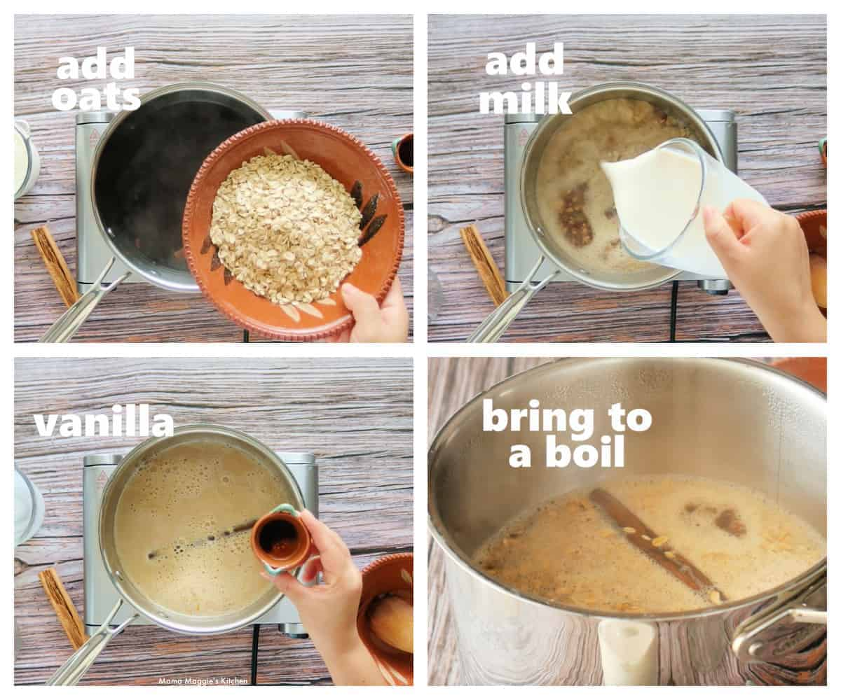 A collage showing how to make Mexican oatmeal, or Avena.