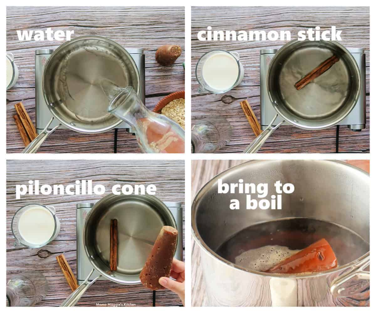 A collage showing how to make Avena, or Mexican oatmeal.