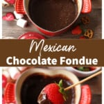 A heart-shaped pot with Mexican chocolate fondue and surrounded by dipping ingredients.