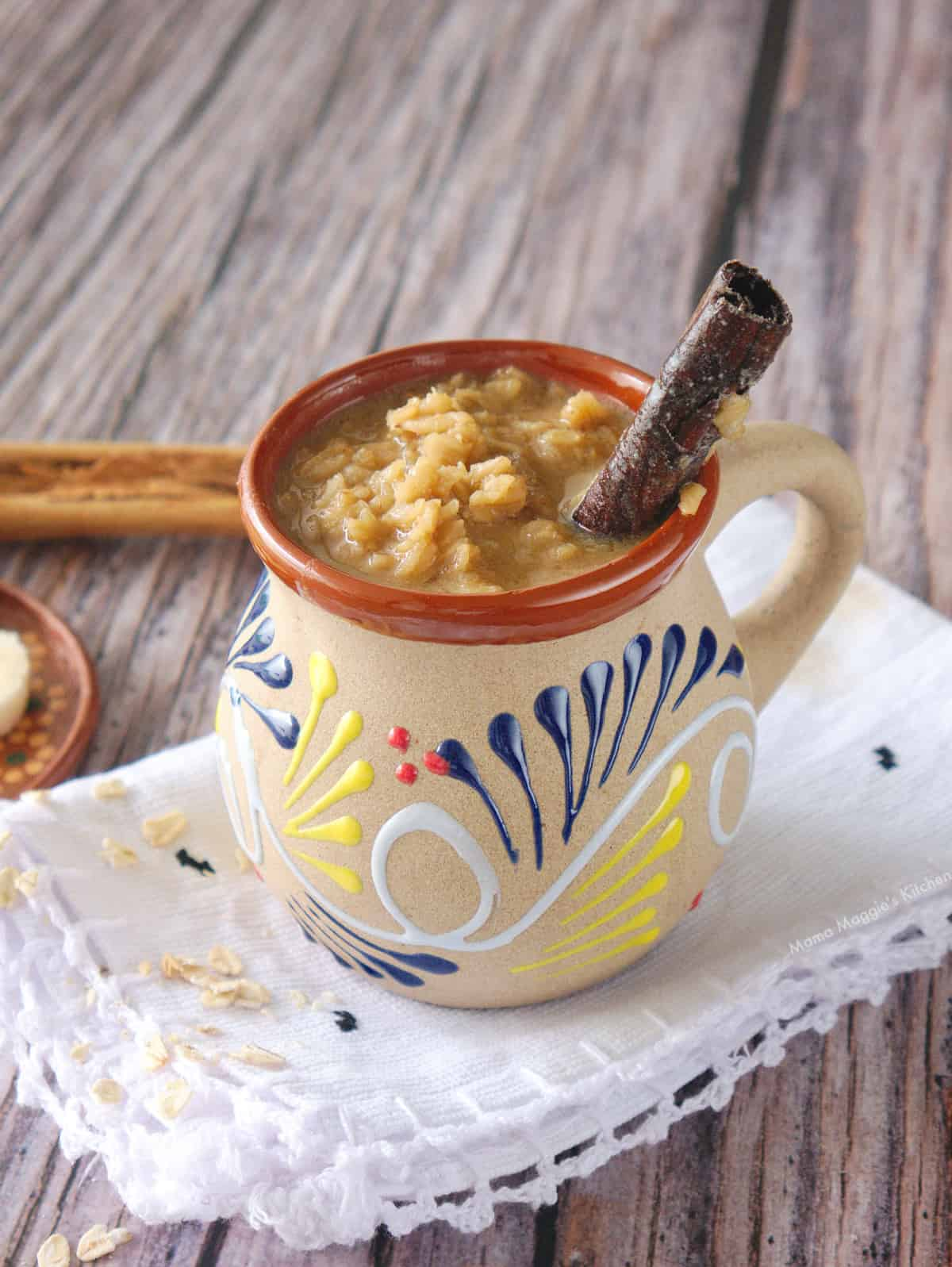 Mexican oatmeal served in a decorative Mexican clay cup.