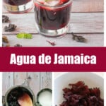 A collage showing how to make agua de jamaica.