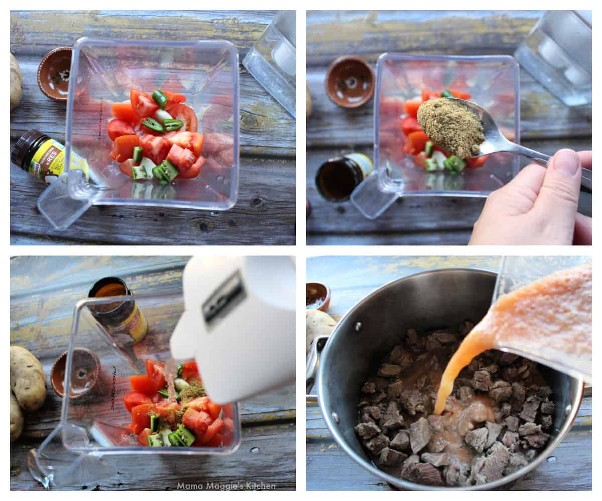 A collage showing how to make the sauce for the beef.