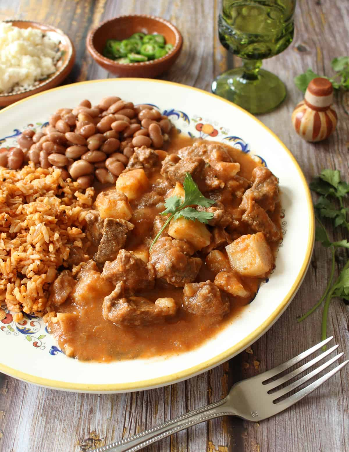 Carne con Papas served next to beans and rice and surrounded by toppings.