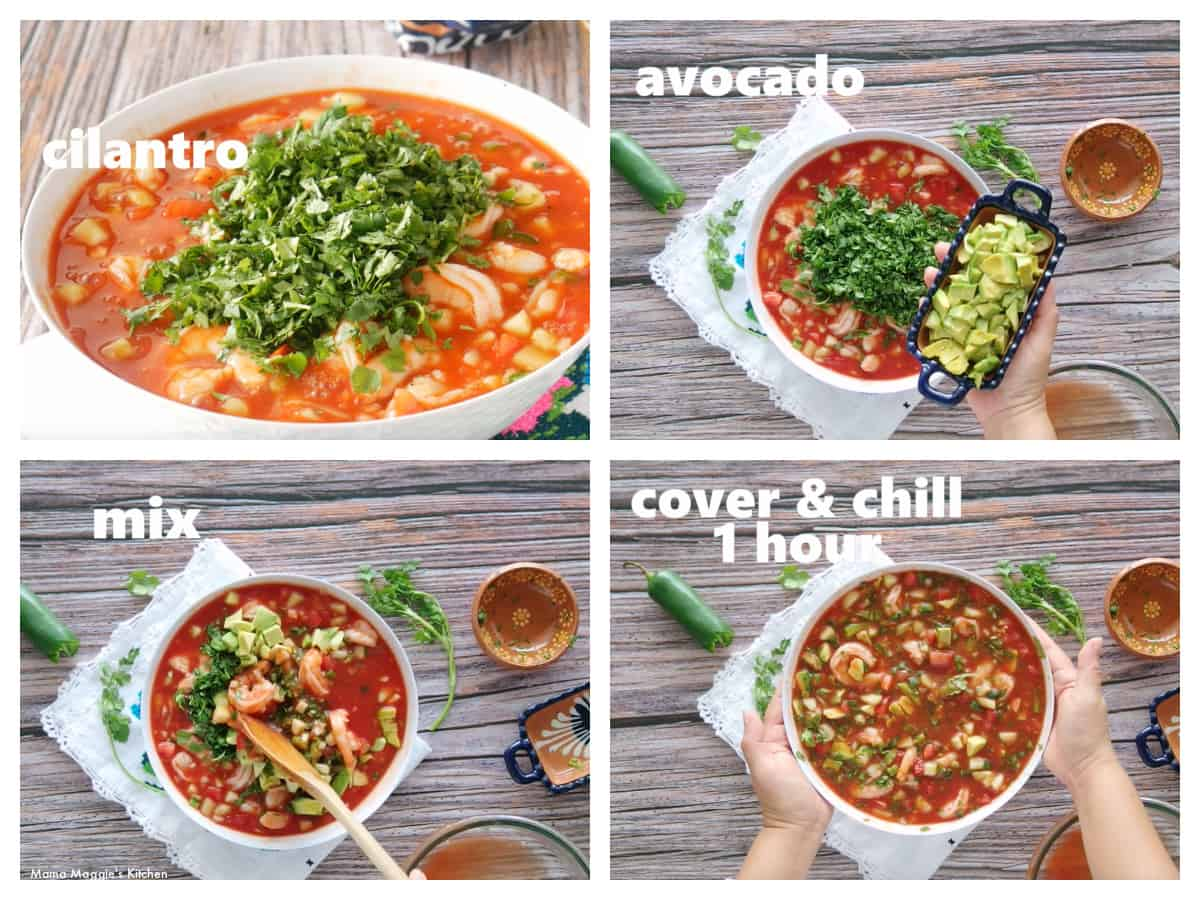 A collage showing how and when to add the ingredients necessary to make Coctel de Camaron.