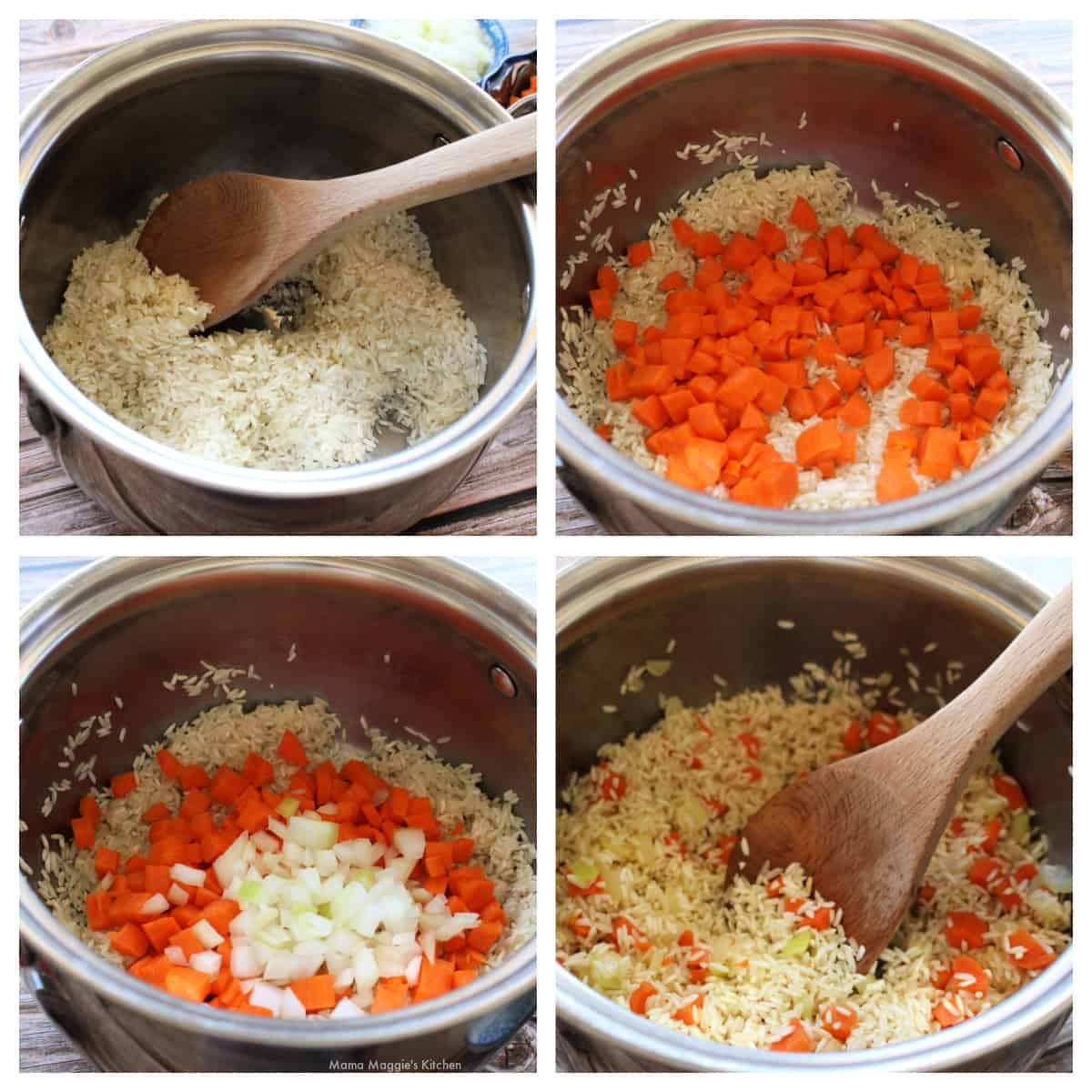 A collage showing rice, carrots, and onion cooking in a pot.