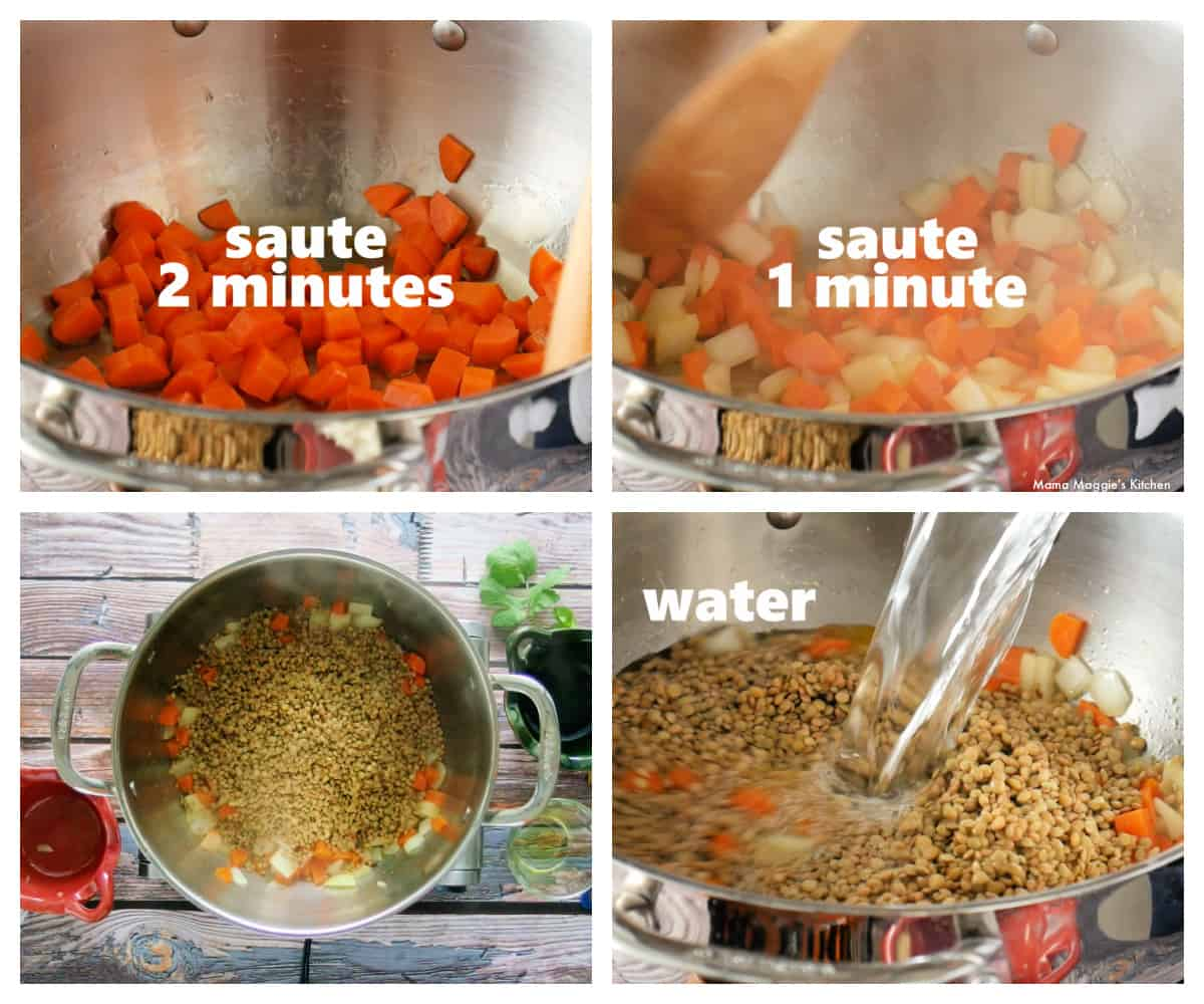 A collage showing how to make lentil soup in a pot.
