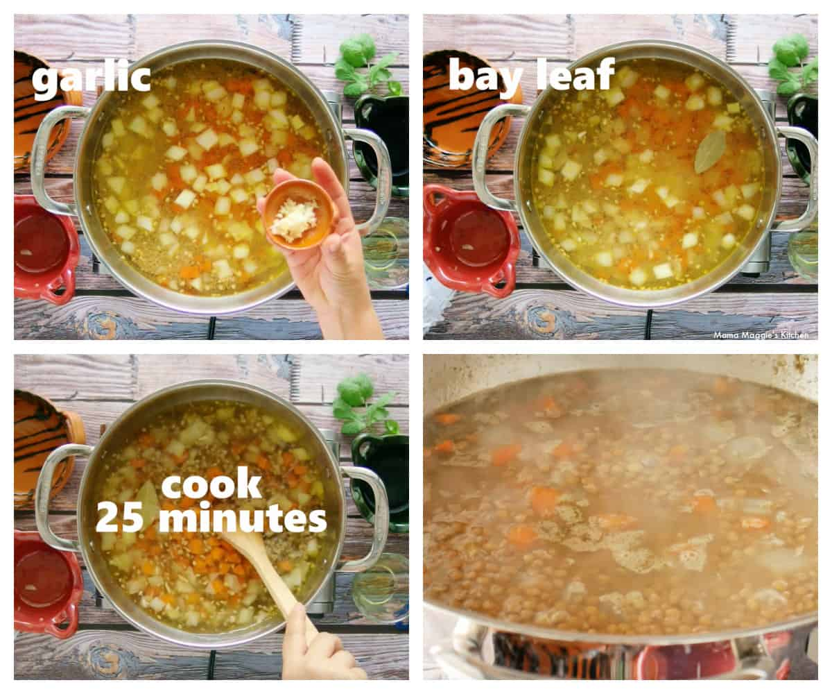 A collage showing the adding of more ingredients to make the Mexican lentil soup.
