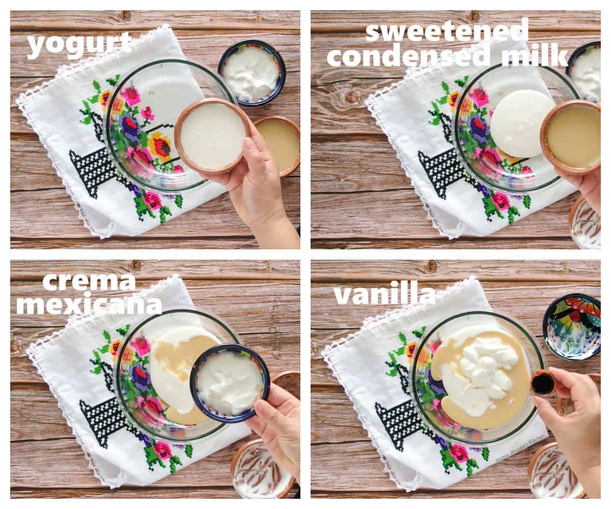 A collage showing how to make the cream sauce.
