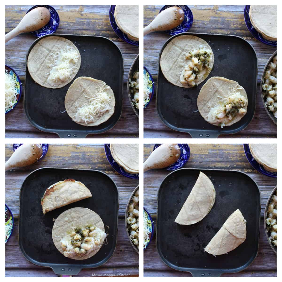 A collage showing how to make the Tacos Gobernador.