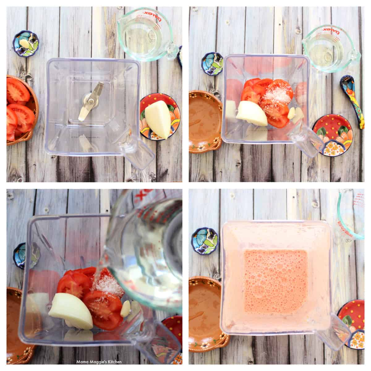 A collage showing how to make homemade tomato sauce.