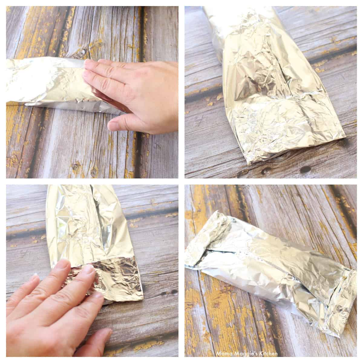A collage showing how to fold and assemble a foil packet.