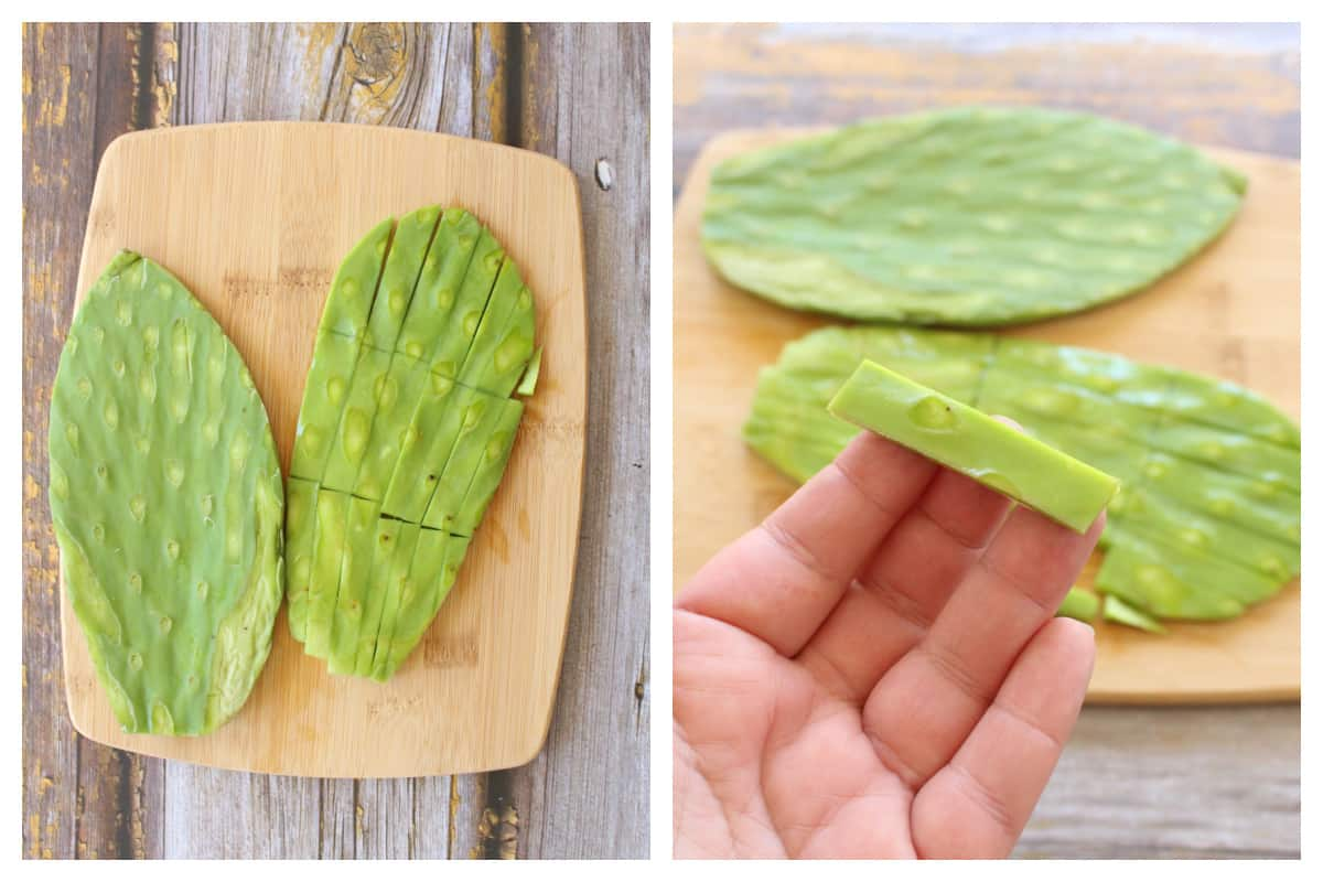 A collage showing how to slice nopales (or cactus).