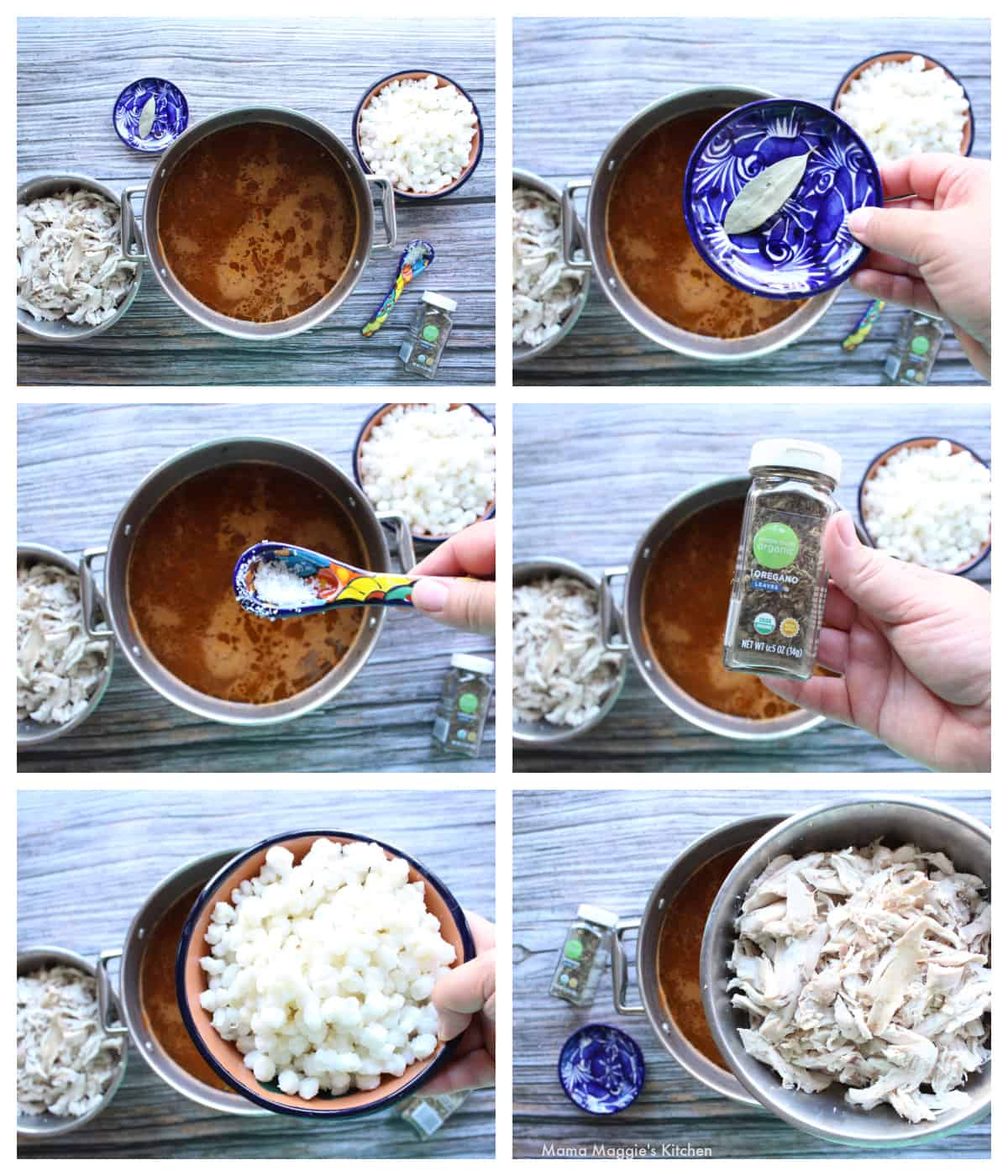A collage showing how to assemble the pozole in the pot.