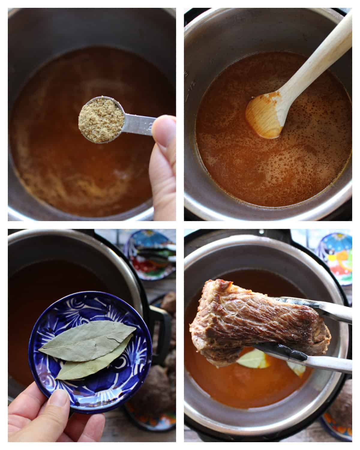 A collage showing the addition of more ingredients into the instant pot.