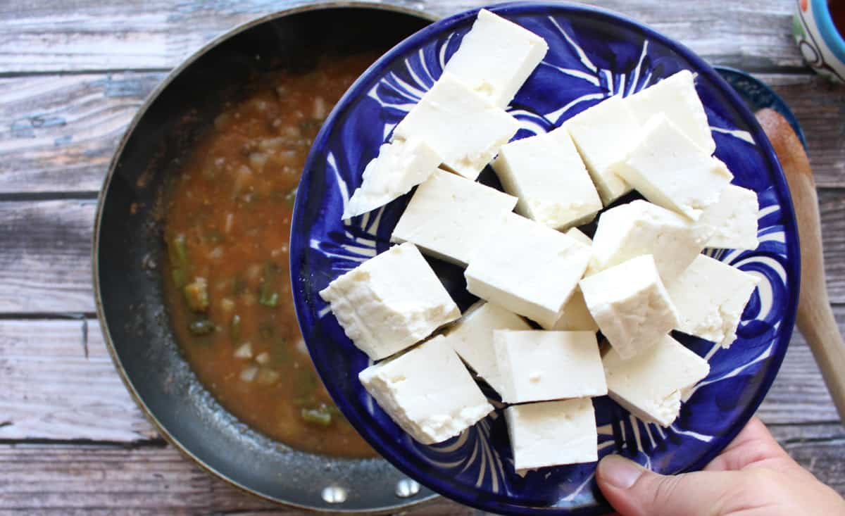 Hand holding a decorative blue plate with cubed panela cheese.
