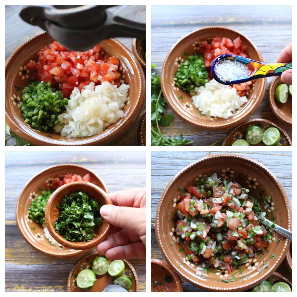 A collage showing how to make pico de gallo.