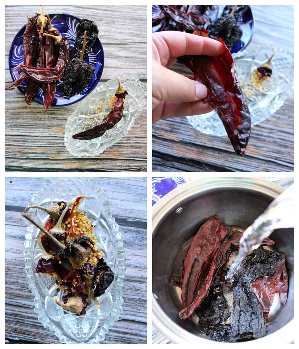 A collage showing how to rehydrate dried chile guajillo and chile ancho.