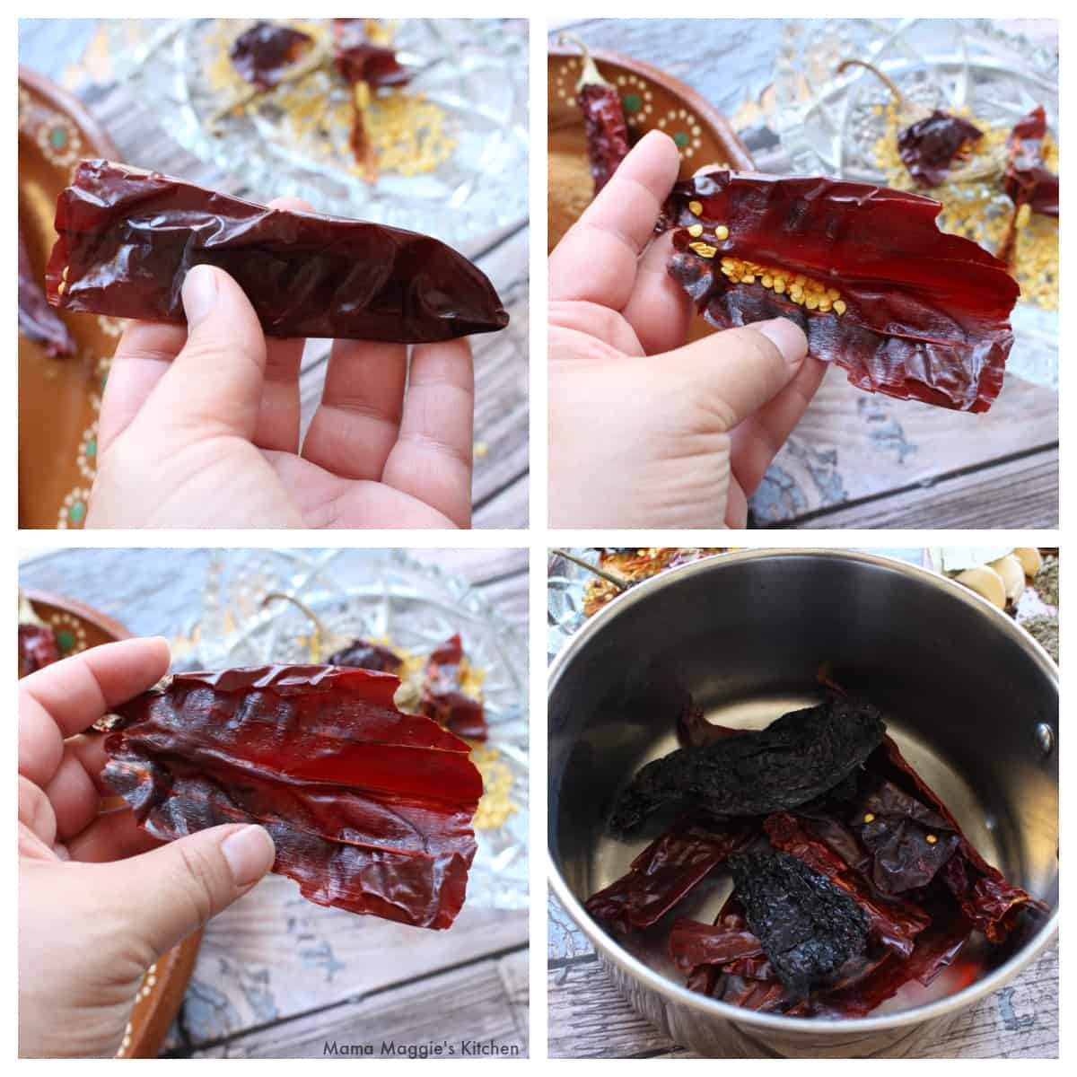 A collage showing how to remove the seeds and stems on a dried chile.