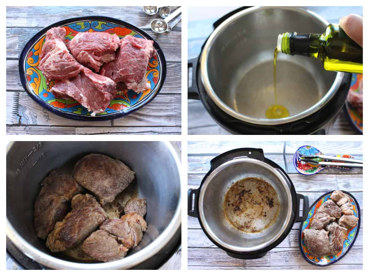 A collage showing how to sear the beef inside an instant pot.