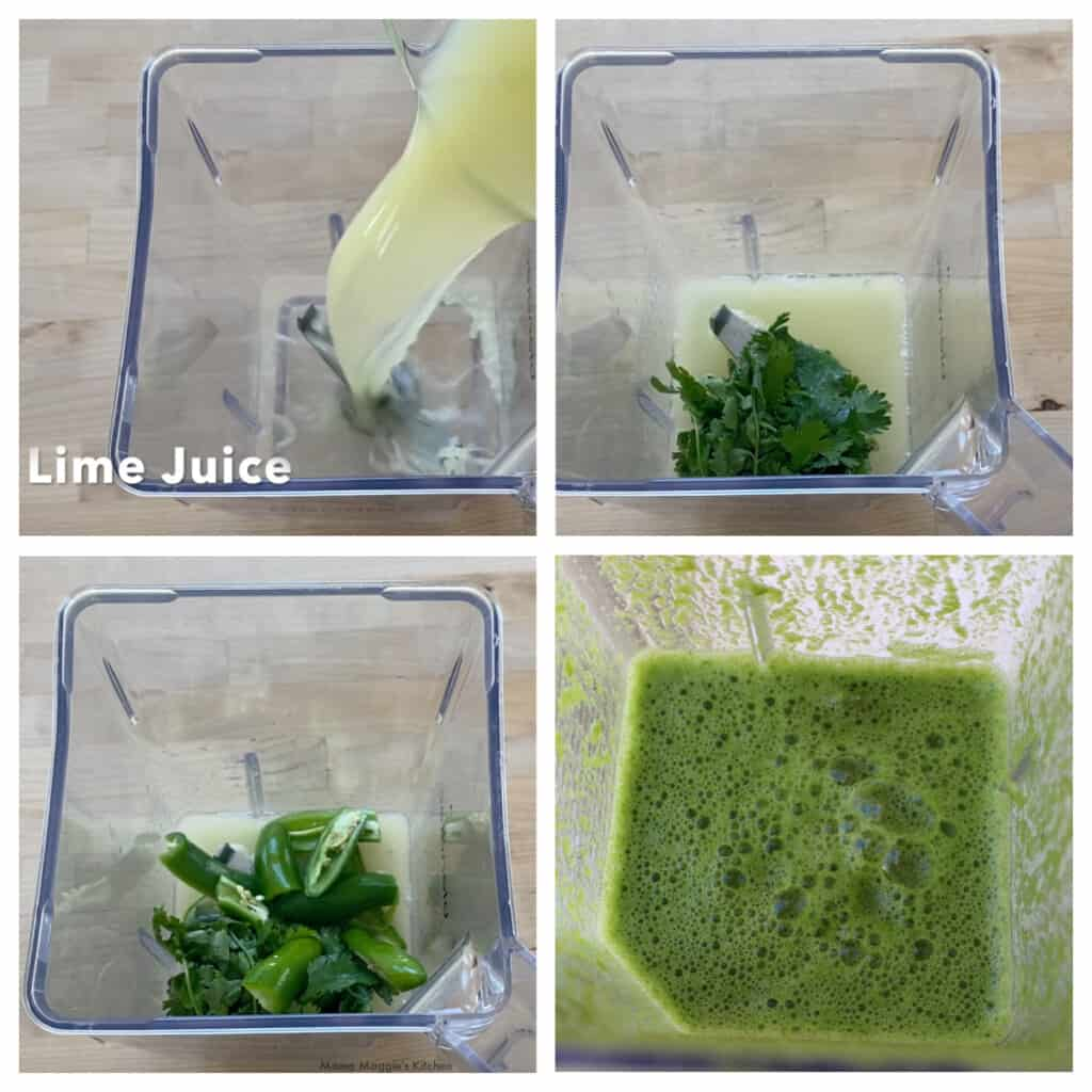 A collage showing how to make the green aguachile sauce.
