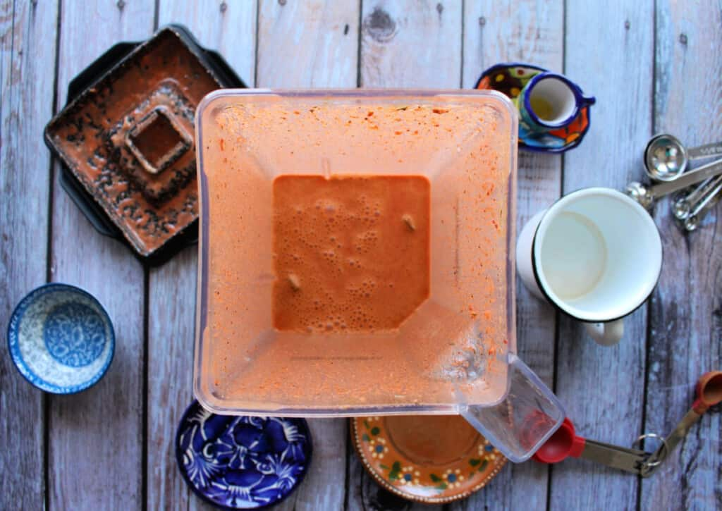 The red achiote marinade in a blender.