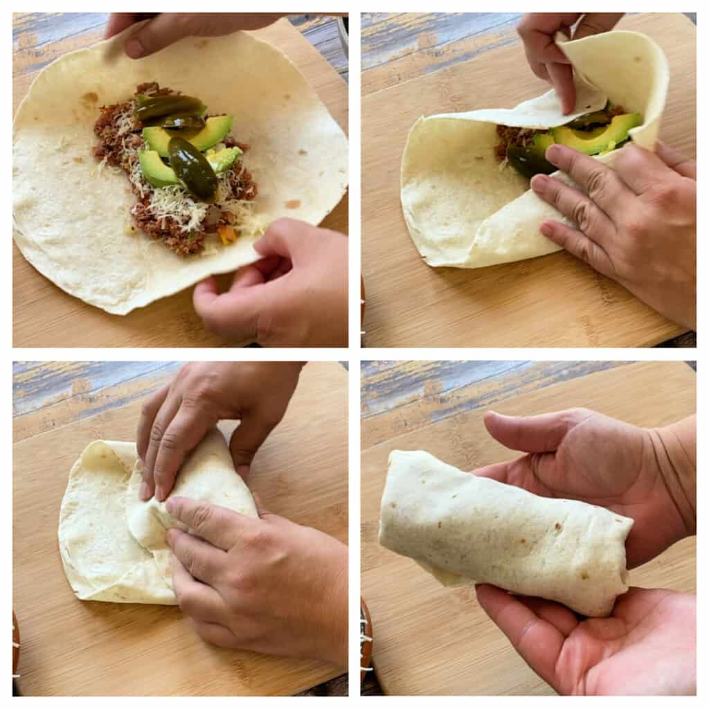 A collage showing how to roll a burrito.