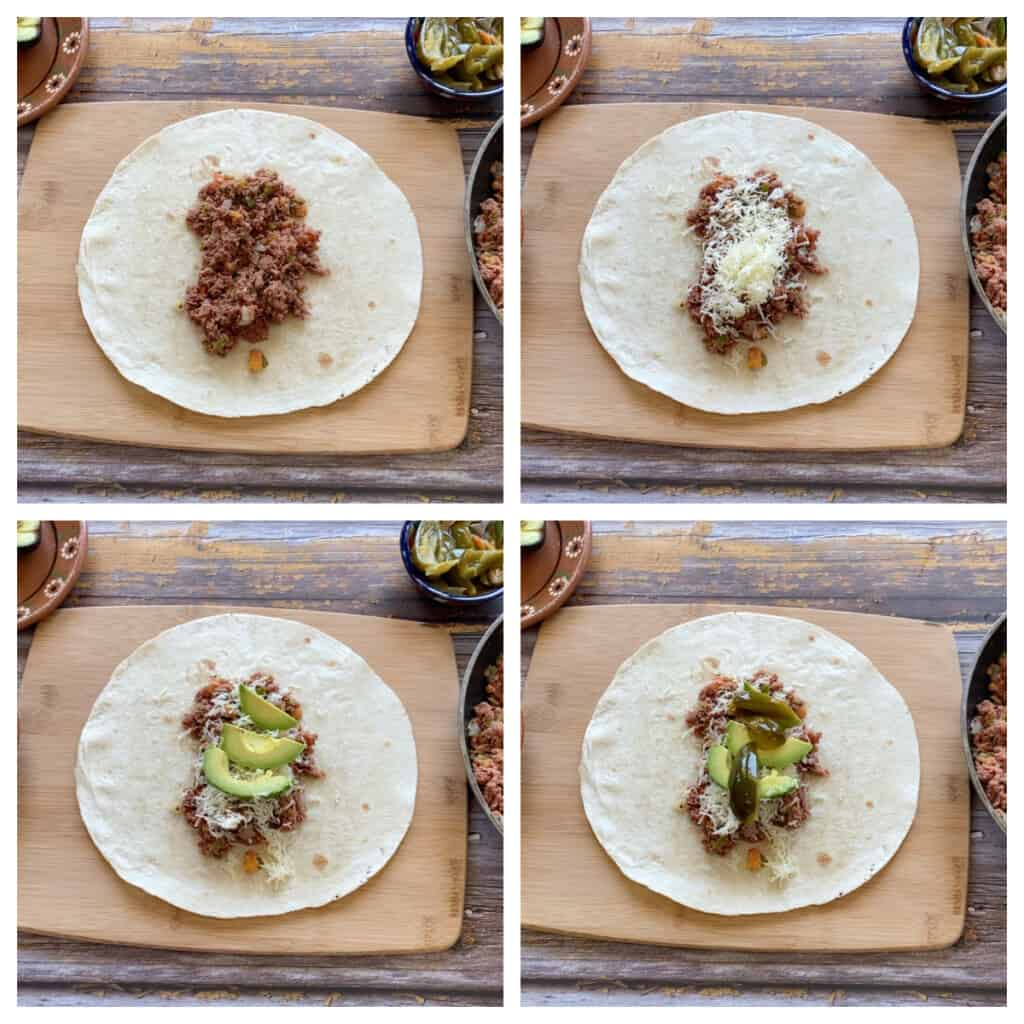 A collage showing how to add the filling of the burrito.