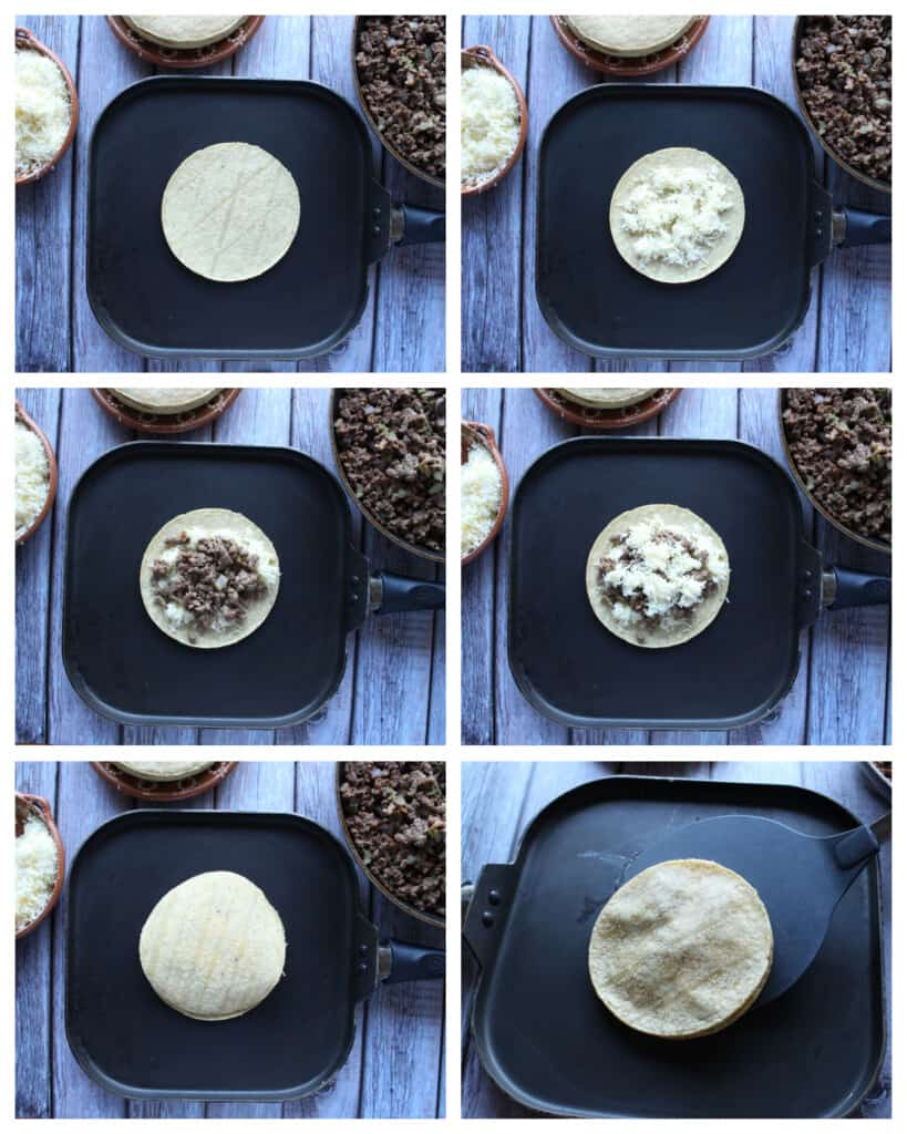 A collage showing how to assemble and cook mulitas.